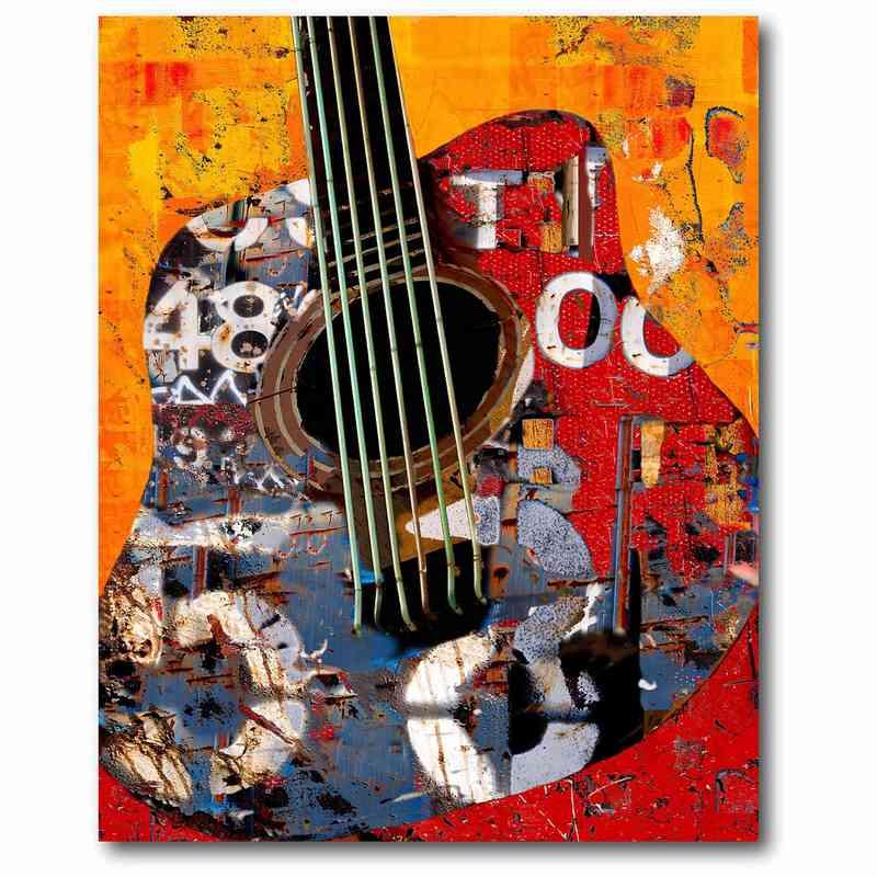 Urban Guitar Abstract 16 X Canvas Wall Art