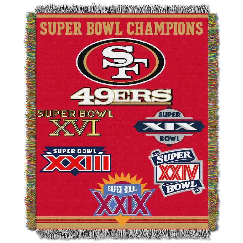 1NFL051400013RET: NW NFL Comm Tapestry Throw, 49ers