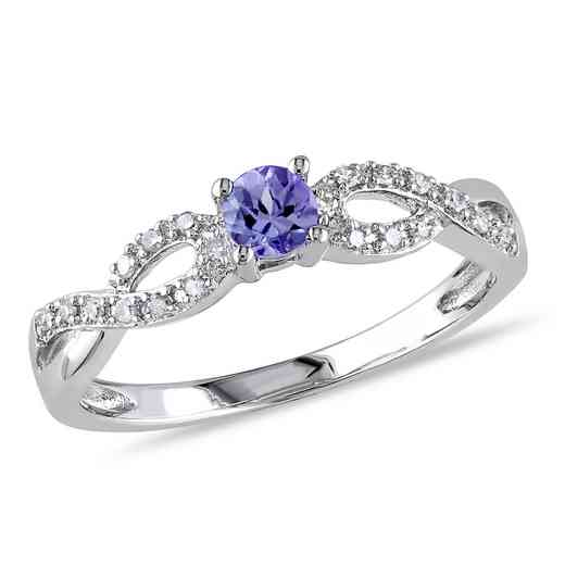 Tanzanite and Diamond Accent Infinity Ring in Sterling Silver