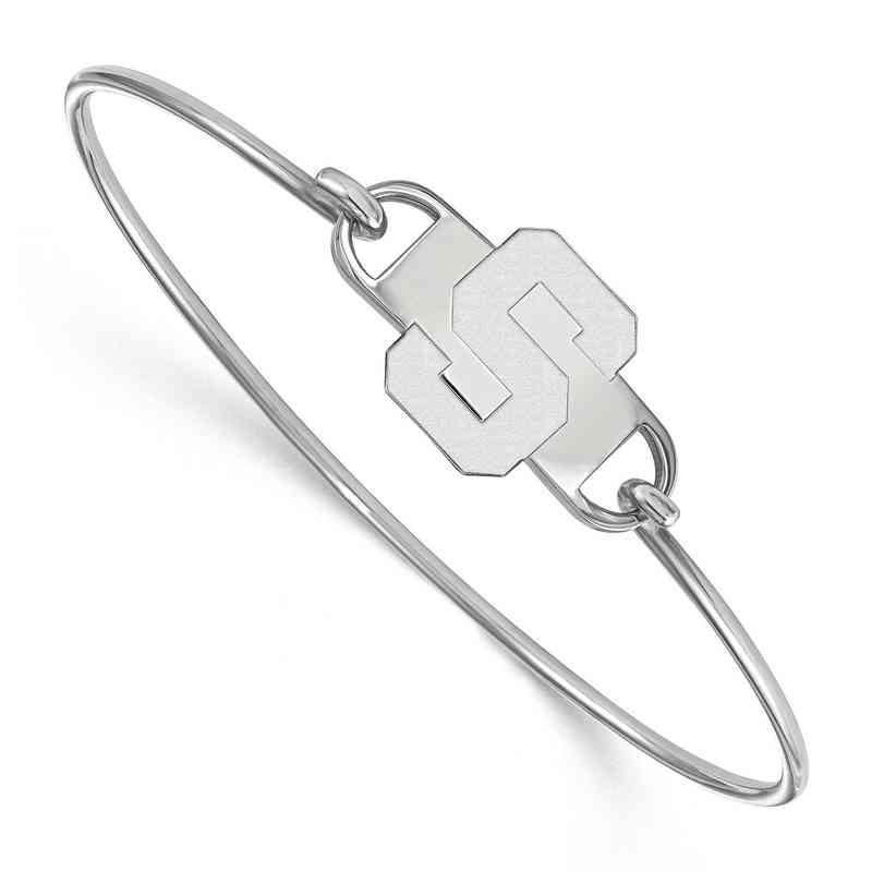 Michigan State S Logo Sterling Silver Wire Bangle