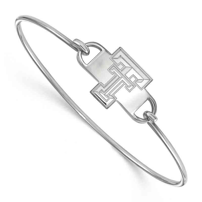 Texas Tech TT Logo Sterling Silver Wire Bangle
