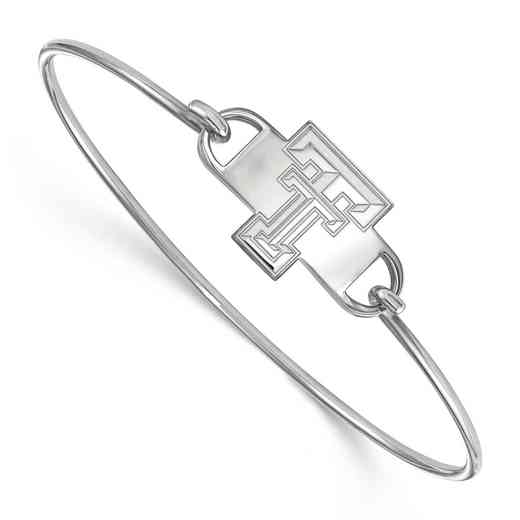 Texas Tech TT Logo Sterling Silver Wire Bangle (Size 6)