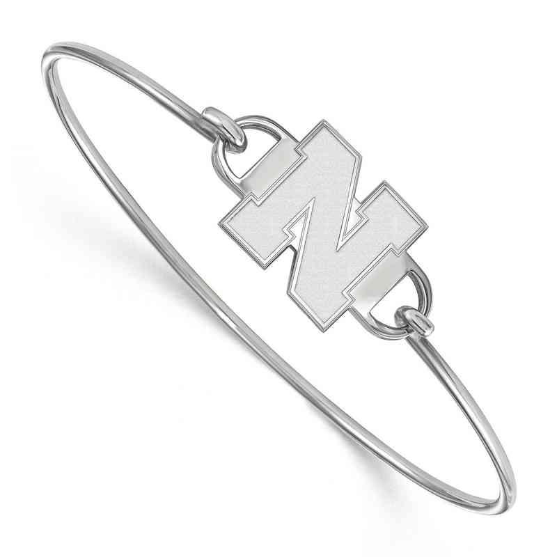 Nebraska N Logo Sterling Silver Wire Bangle (Size 6)