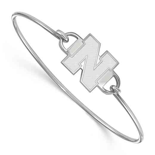 Nebraska N Logo Sterling Silver Wire Bangle (Size 6)