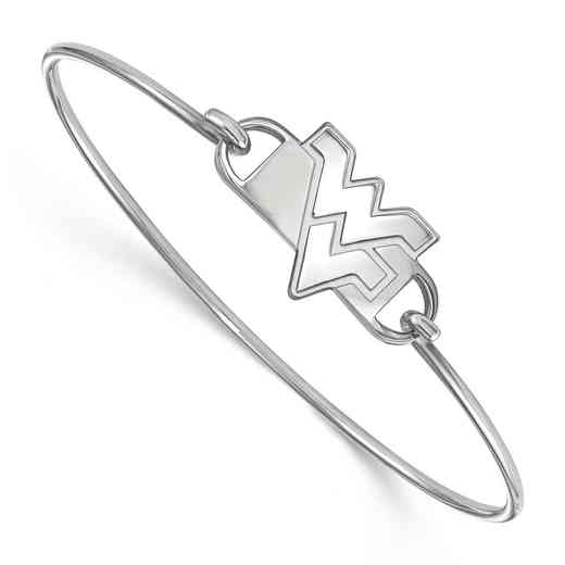 WVU Logo Sterling Silver Wire Bangle (Size 6)