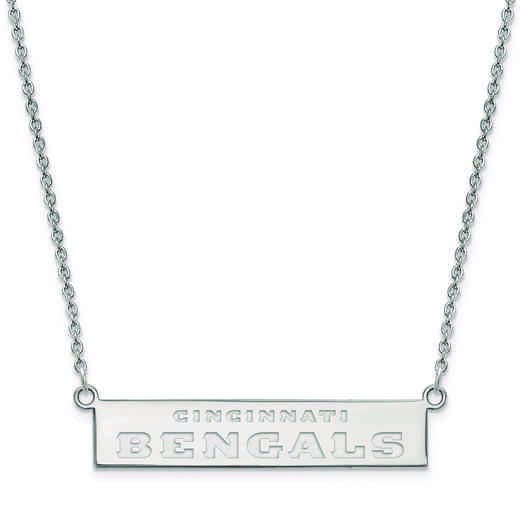 SS016BEN-18: 925 Cincinnati Bengals Bar Necklace