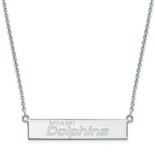 SS016DOL-18: 925 Miami Dolphins Bar Necklace