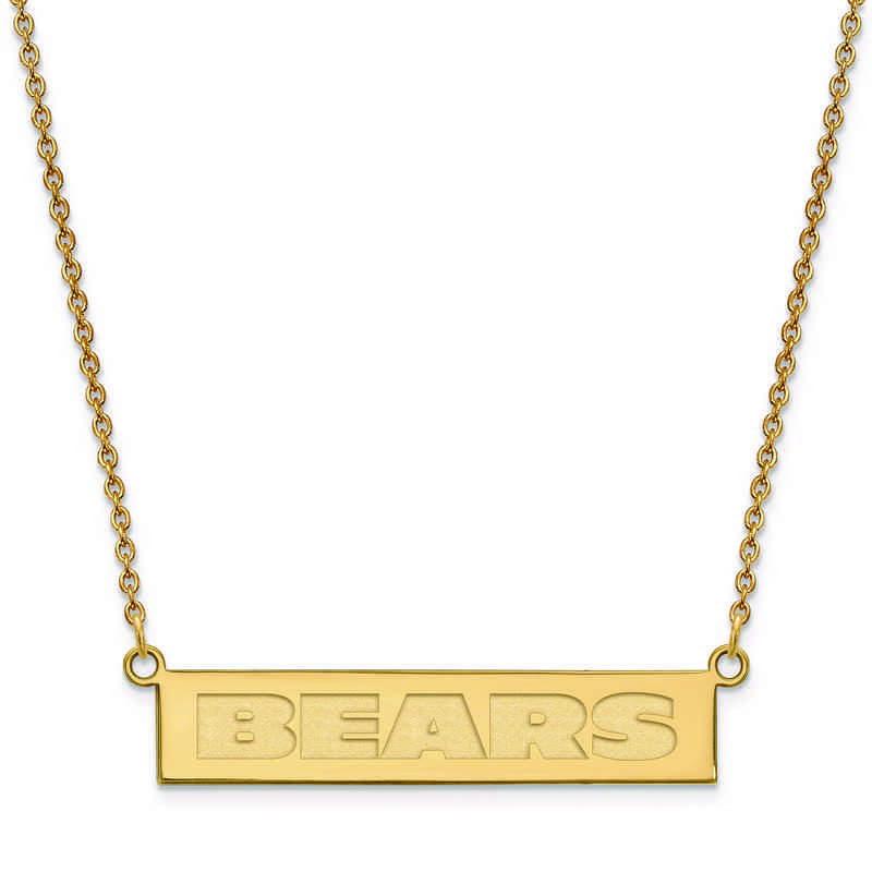 GP016BEA-18: 925 YGFP Chicago Bears Bar Necklace