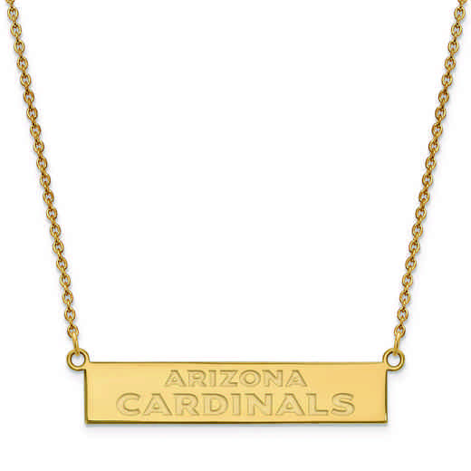 GP016CAR-18: 925 YGFP Arizona Cardinals Bar Necklace