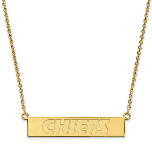 GP016CHF-18: 925 YGFP Kansas City Chiefs Bar Necklace