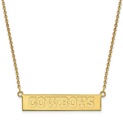 GP016COW-18: 925 YGFP Dallas Cowboys Bar Necklace