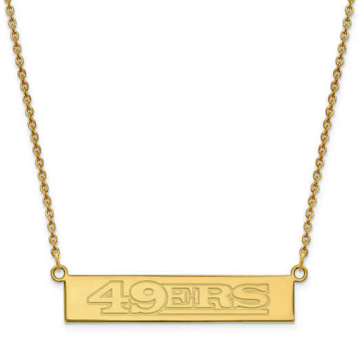 GP016FOR-18: 925 YGFP San Francisco 49ers Bar Necklace