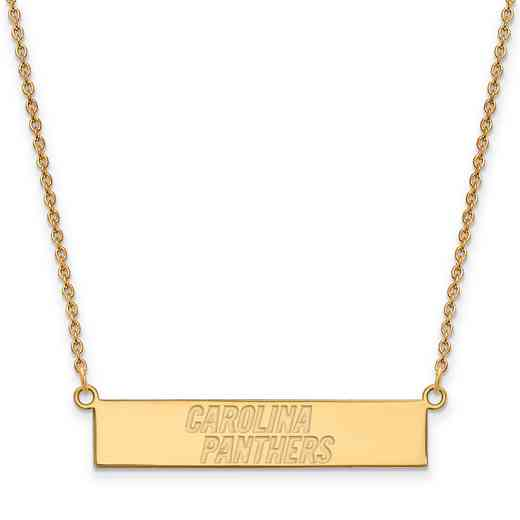 GP016PAN-18: 925 YGFP Carolina Panthers Bar Necklace