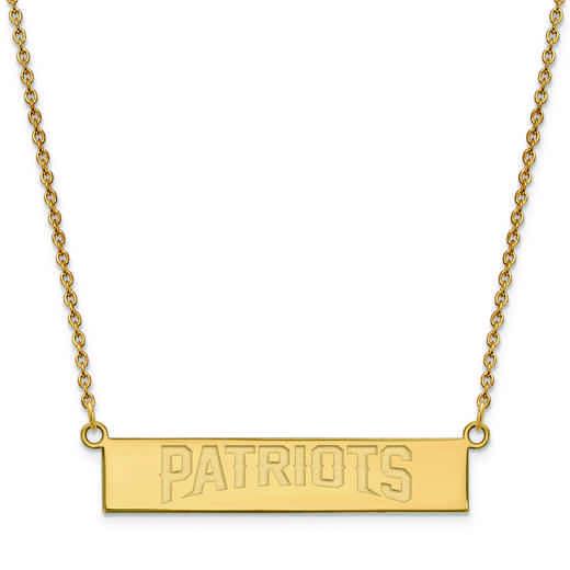GP016PAT-18: 925 YGFP New England Patriots Bar Necklace