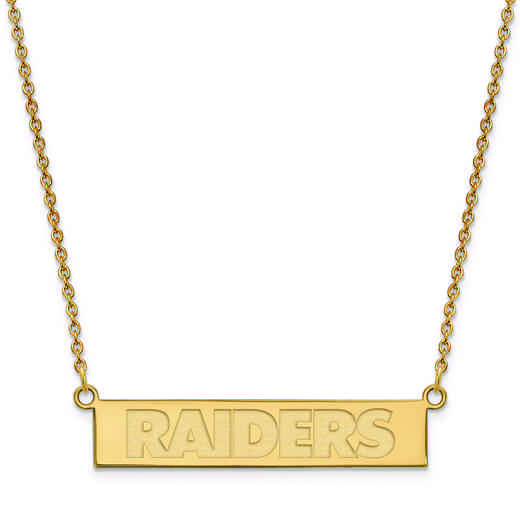 GP016RAI-18: 925 YGFP Oakland Raiders Bar Necklace