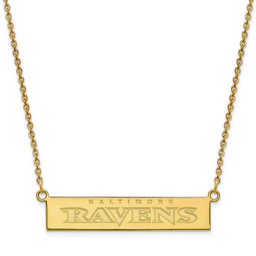GP016RAV-18: 925 YGFP Baltimore Ravens Bar Necklace