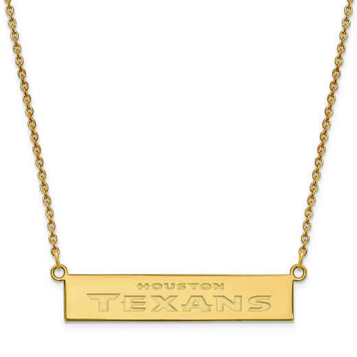 GP016TXN-18: 925 YGFP Houston Texans Bar Necklace