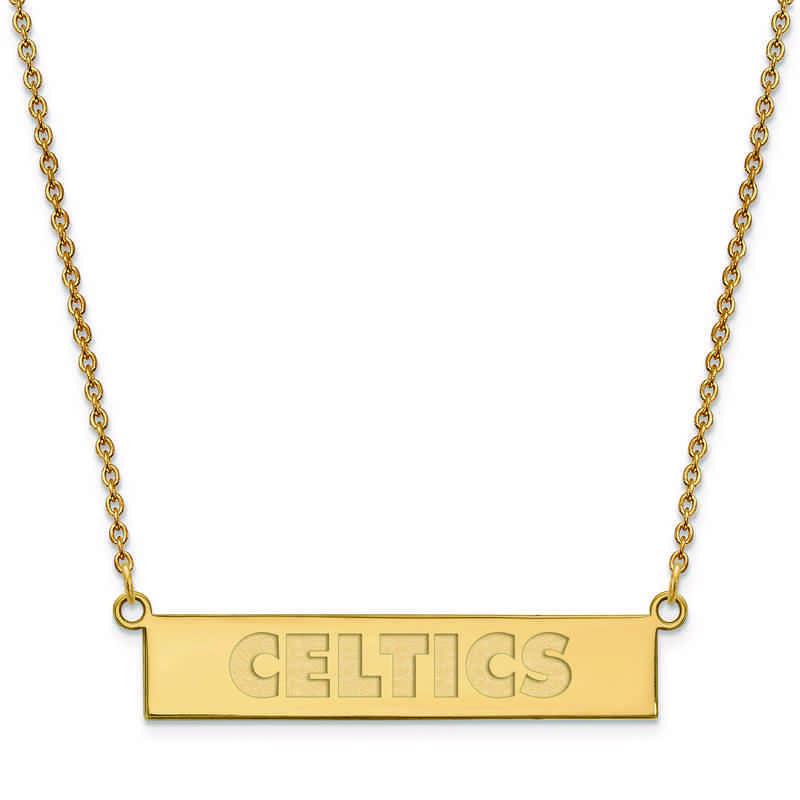 GP035CEL-18: 925 YGFP Boston Celtics Bar Necklace