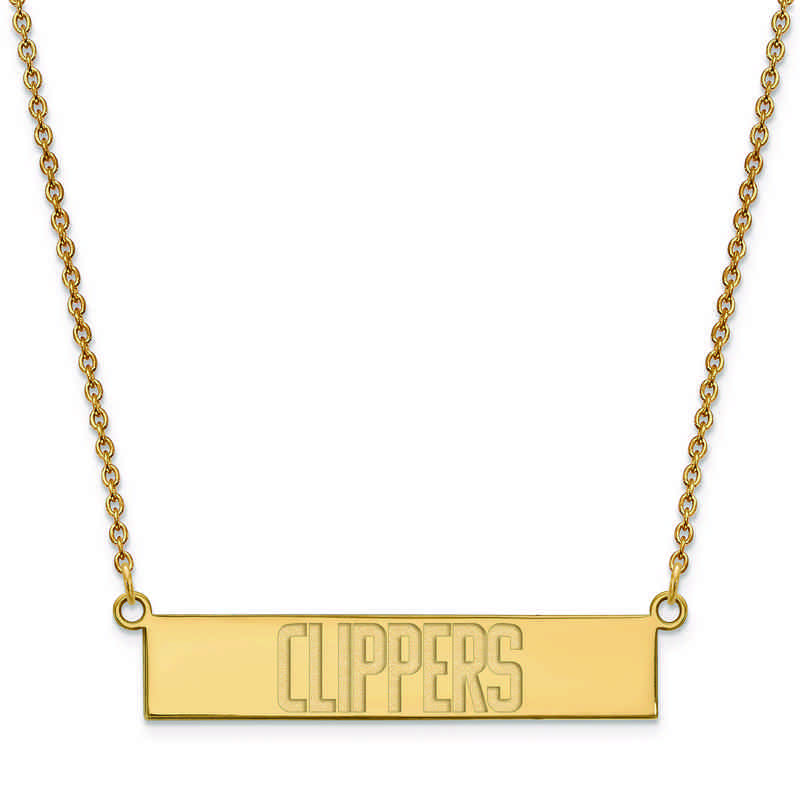 GP022CLI-18: 925 YGFP Los Angeles Clippers Bar Necklace