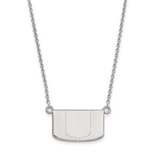 SS015UMF-18: 925 LogoArt Univ of Miami Pendant Necklace