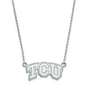 SS005TCU-18: 925 LogoArt Texas Christian Univ Pendant Necklace