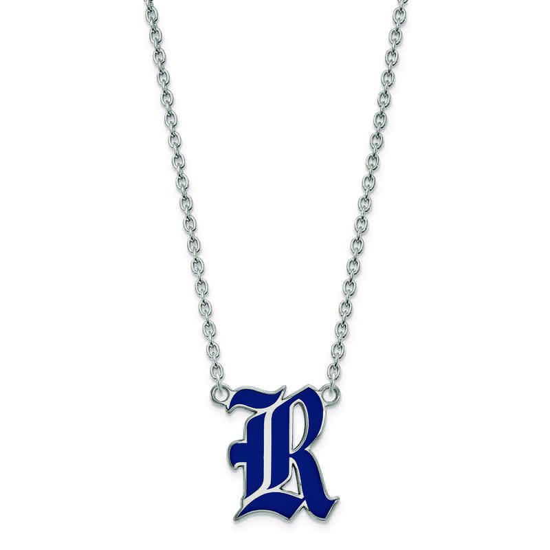 SS012WMR-18: 925 LogoArt Rice Univ Large Enamel Pendant w/Necklace