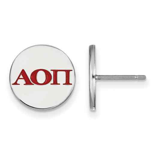 SS032AOP: 925 Alpha Omicron Pi Enml Post Ears