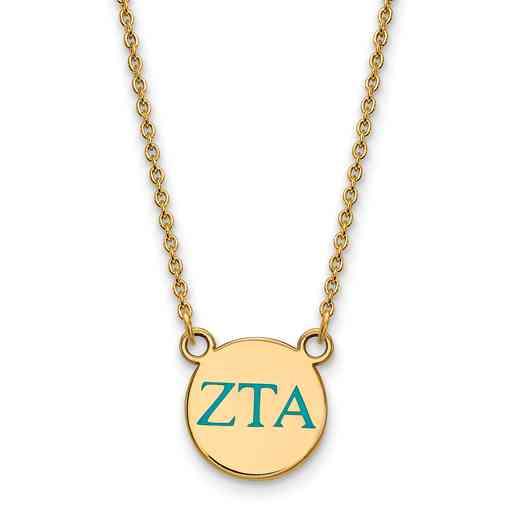 GP027ZTA-18: 925 YGFP Zeta Tau Alpha Sml Enl Neck
