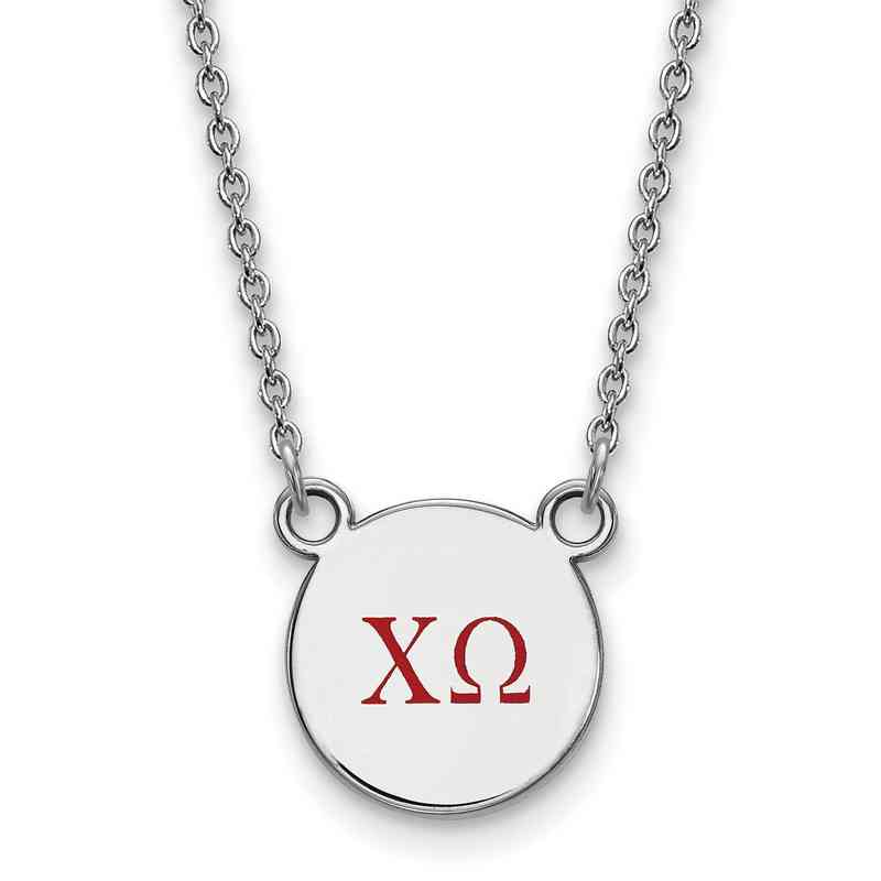 Chi Omega Enameled Sterling Silver Greek Necklace