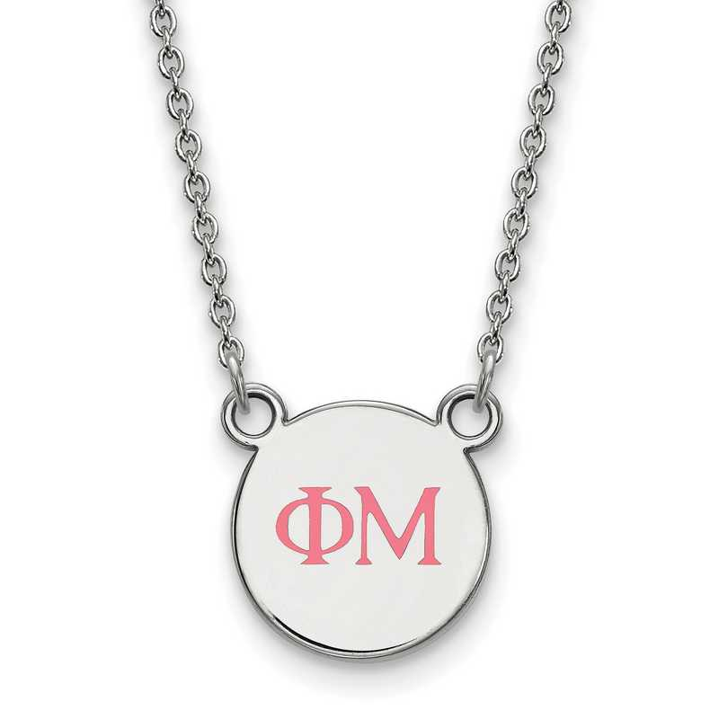 Phi Mu Enameled Sterling Silver Greek Necklace