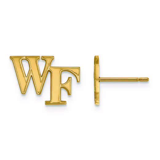 GP061WFU: 925 YGFP LogoArt Wake Forest University Post Earss