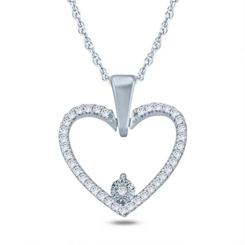 110 ct tw diamond heart pendant necklace in 10k white gold tw diamond heart pendant necklace in 10k white gold aloadofball Images