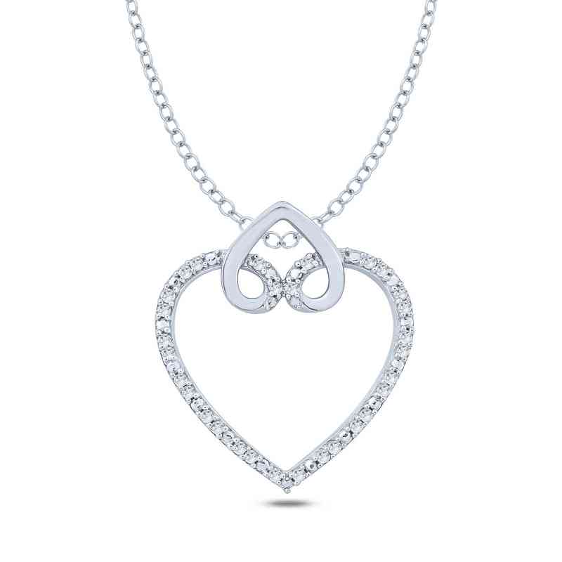 110 Ct Tw Diamond Double Heart Pendant Necklace In Sterling Silver