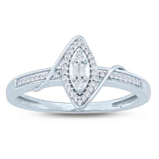 1/10 CT. T.W. Diamond Cluster Love's Promise Ring in 10K White Gold