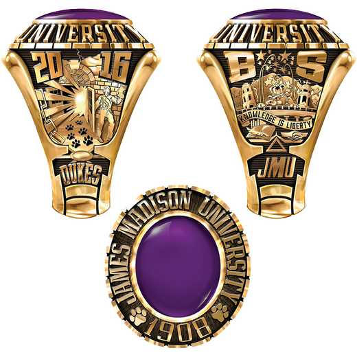 James Madison University Class Of 2016 Men's Traditional 876PL Traditional with Oval Stone
