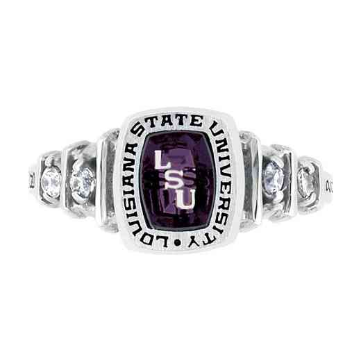 Louisiana State University Women's Highlight Ring with Diamonds