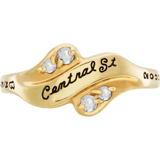 John Jay College of Criminal Justice Seawind with Diamonds and Birthstones Ring