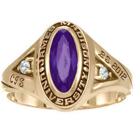 James Madison University Class of 2012 Women's Signature Ring with Cubic Zirconias
