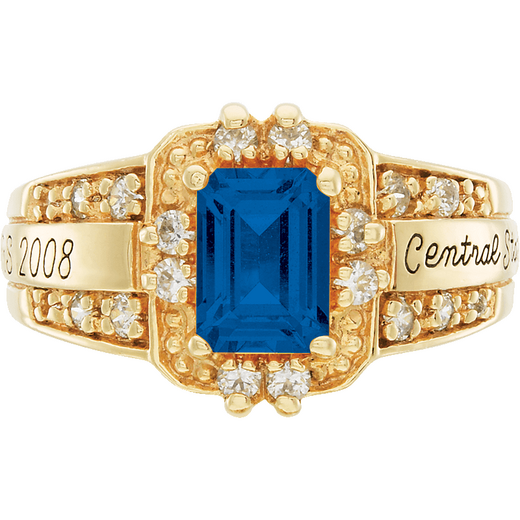 University of Vermont Illusion Ring with Cubic Zirconias