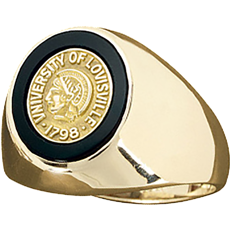 University of Louisville Men's Large Signet with Stone and Crest Ring