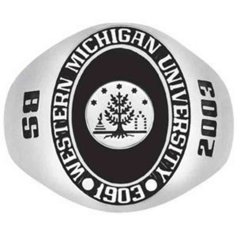 Western Michigan University Men's Stone with crest Ring
