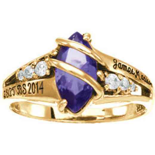 James Madison University Class of 2014 Women's Windswept Ring with Cubic Zirconias