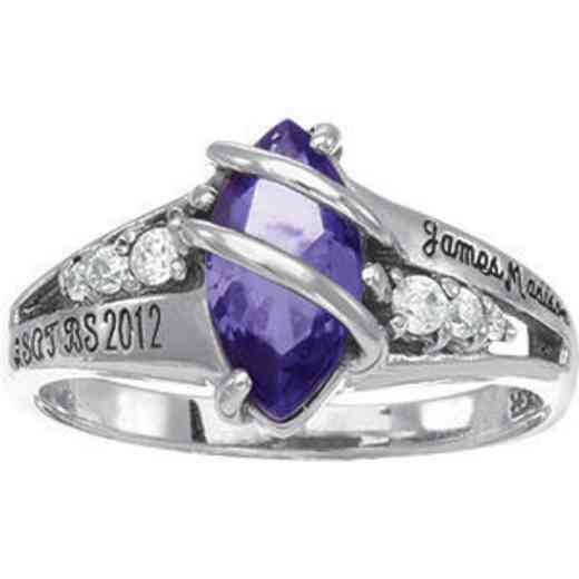 James Madison University Class of 2012 Women's Windswept Ring with Cubic Zirconias