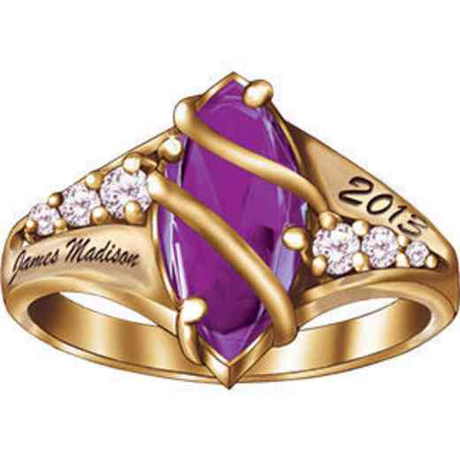 James Madison University Class of 2013 Women's Windswept Ring with Cubic Zirconias