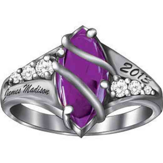 James Madison University Class of 2013 Women's Windswept Ring with Diamonds