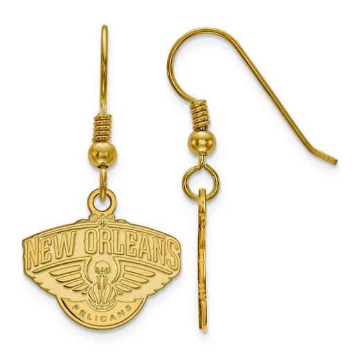 GP006PEL: 925 YGFP LogoArt New Orleans Pelicans Dangle Ears