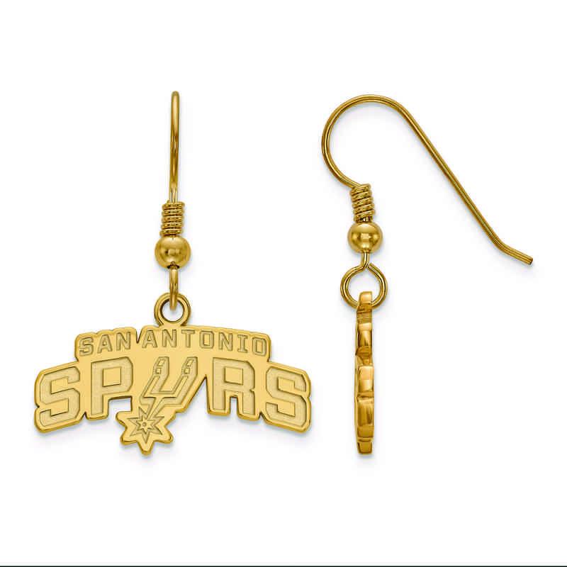 GP006SPU: 925 YGFP LogoArt San Antonio Spurs Dangle Ears