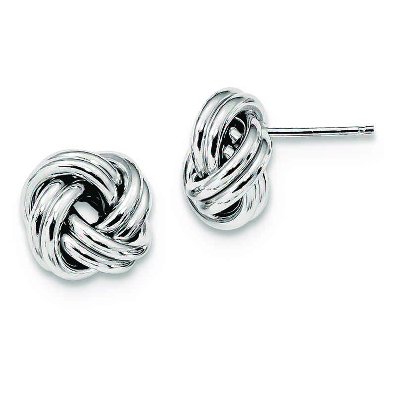 QE13413: 925 Rhodium Plated Pol Love Knot Post Earrings