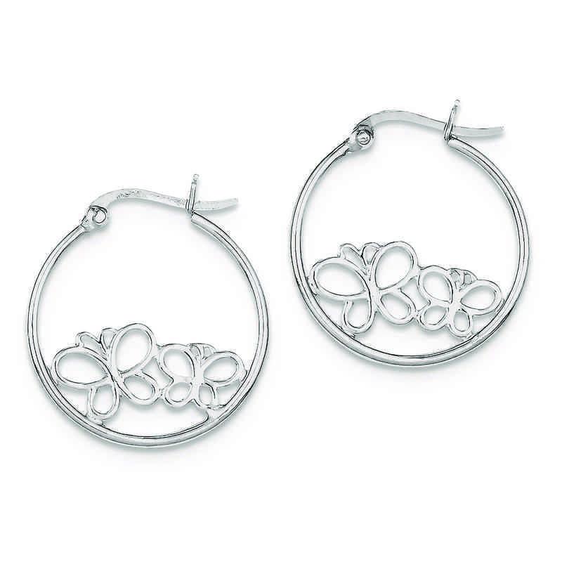 QE8807: 925 Rhodium Plated 2-Butterfly Hoop Earrings