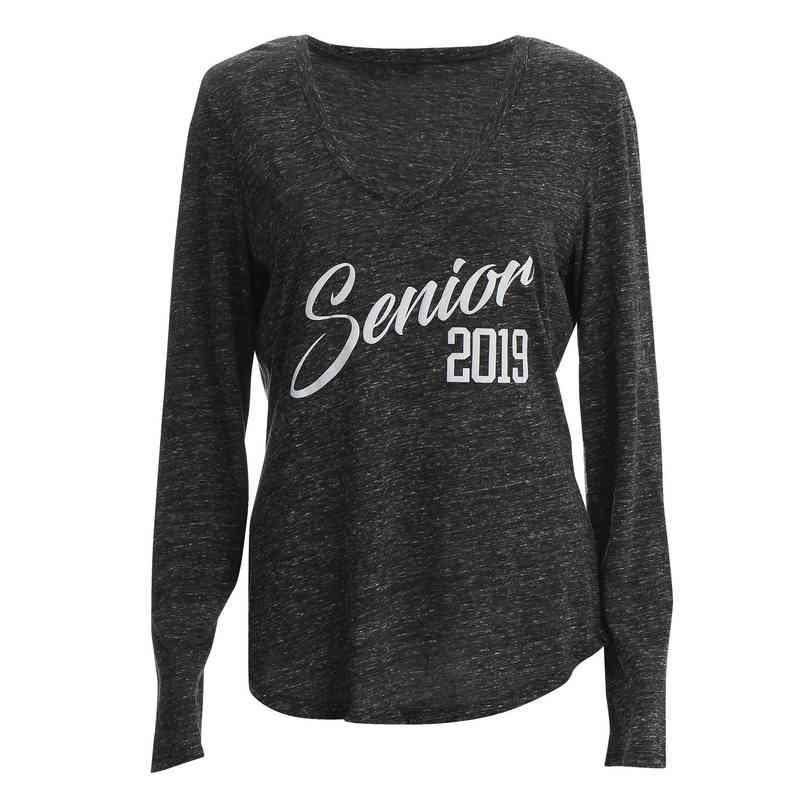 Women's Senior 2019 Snow Heather V-Neck Long Sleeve T-Shirt